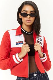 PATCH CROPPED TRACK JACKET at Forever 21