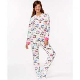 PJ Couture Plush Footed Adult Onesie Pajamas I Love Sleep at Macys