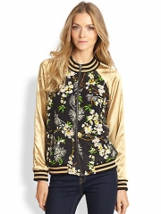 PJK Patterson J Kincaid - Kerra Metallic Satin-Sleeved Printed Silk Bomber at Saks Fifth Avenue