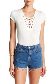 PLANET GOLD   Short Sleeve Lace Up Bodysuit   Nordstrom Rack at Nordstrom Rack