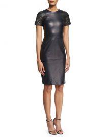 PRABAL GURUNG SHORT-SLEEVE STITCH-TRIM LEATHER SHEATH DRESS, NAVY/BLACK at Bergdorf Goodman