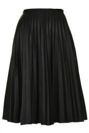 PU Pleated Midi Skirt at Topshop