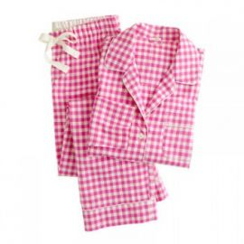 Pajama set in flannel gingham in pink at J. Crew