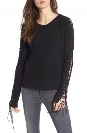 Pam   Gela Lace-Up Sleeve Sweatshirt at Nordstrom
