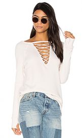 Pam  amp  Gela Crew Neck Lace Up Sweatshirt in Parchment from Revolve com at Revolve