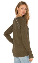 Pam  amp  Gela Lace Back Sweater in Army from Revolve com at Revolve