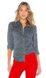 Pam  amp  Gela Printed Camo Shirt in Blue Camo from Revolve com at Revolve