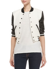 Pam and Gela Letterman Style Jacket w Quilted Sleeves CreamBlack at Neiman Marcus