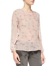 Pam and Gela Smock-Shoulder Floral-Print Blouse at Neiman Marcus