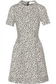 Paneled floral-jacquard mini dress at The Outnet