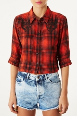 Panther applique crop check shirt at Topshop