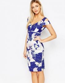 Paper Dolls Cold Shoulder Pencil Dress In Floral Print at asos com at Asos