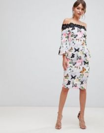 Paper Dolls Printed Off Shoulder Pencil Dress With Crochet Trim at asos com at Asos