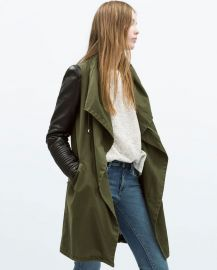 Parka with leather sleeves at Zara