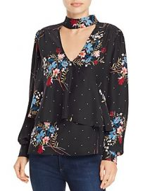 Parker Hamlet Choker-Neck Floral-Print Silk Top at Bloomingdales