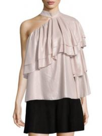 Parker - Ophelia Ruffled One-Shoulder Choker Blouse at Saks Fifth Avenue