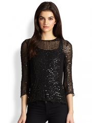 Parker - Vivian Leather Sequin and Silk Top at Saks Fifth Avenue