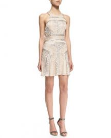 Parker Black Leona Sleeveless Halter Sequined Cocktail Dress at Neiman Marcus