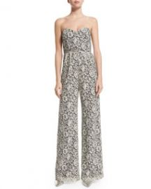 Parker Cay Wide-Leg Lace Jumpsuit Ivory at Neiman Marcus