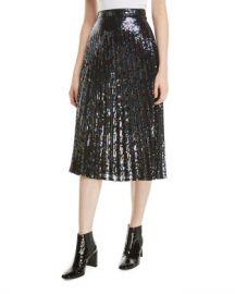 Parker Citrine Sequined High-Waist Midi Skirt at Neiman Marcus