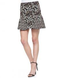 Parker Kenna Mixed Animal-Print Godet Skirt Camel at Neiman Marcus