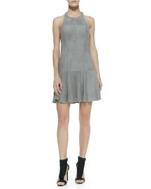 Parker Leona Perforated Suede Halter Dress  Slate at Neiman Marcus