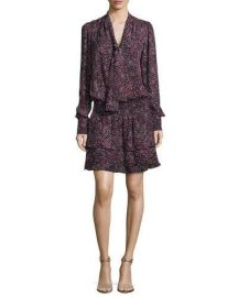 Parker Marybeth Tie-Neck Long-Sleeves Printed Silk Dress at Neiman Marcus