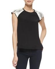 Parker Slashed Shoulder Contrast Silk Top Black at Neiman Marcus