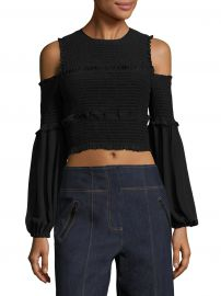 Pascal Smocked Cold-Shoulder Silk Cropped Top at Saks Off 5th