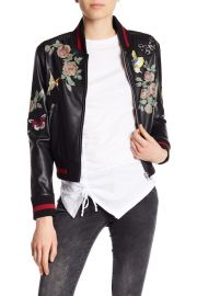 Patch and Print Detailed Faux Leather Bomber Jacket at Nordstrom Rack