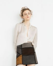 Patchwork Leather Mini Skirt at Zara