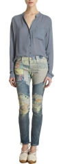 Patchwork jeans by Current Elliot at Barneys Warehouse