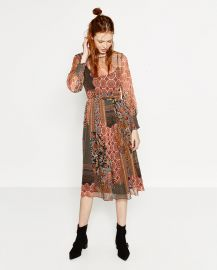 Patchwork style print dress  at Zara