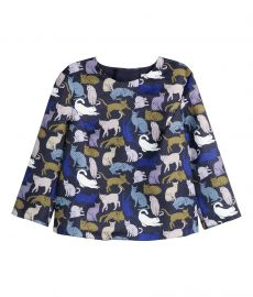Patterned Blouse in Dark Blue Cats at H&M