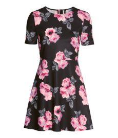 Patterned Dress in Black Floral at H&M