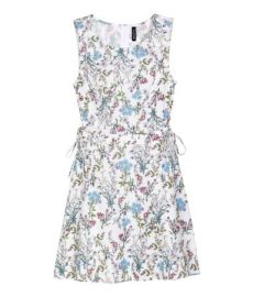 Patterned Dress with Lacing white at H&M