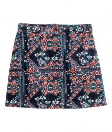 Patterned Velvet Skirt at H&M