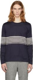 Paul Smith Navy Long Sleeve Chest Stripe T-Shirt at SSENSE