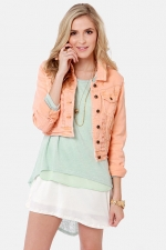 Peach denim jacket from Lulus at Lulus