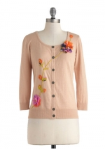 Peach embroidered cardigan at Modcloth