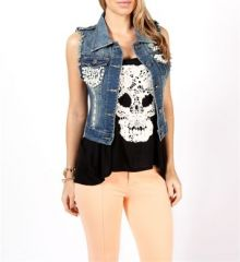 Pearl embellished denim vest at Windsor Store