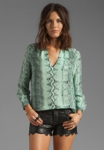 Pearline snake blouse in aqua by Joie at Revolve