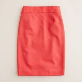 Pencil skirt in wool crepe in Red at J. Crew