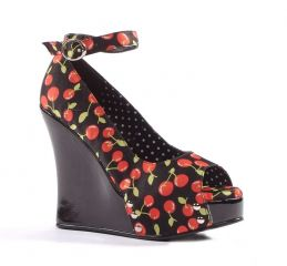Penthouse by Ellie Shoes Rocky Cherry Print Peep Toe Wedge at Jackdaw Landing