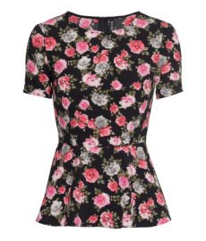 Peplum Top in black floral at H&M