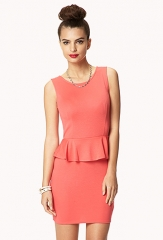 Peplum dress in coral at Forever 21