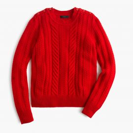 Perfect cable sweater in Red at J. Crew
