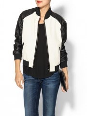 Perforated leather bomber jacket at Piperlime