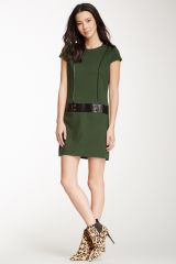 Perla Faux Leather trim Shift Dress at Nordstrom