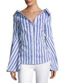 Persephone Striped Decollete Shirt by Caroline Constas at Bergdorf Goodman